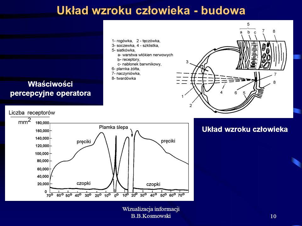 Wizualizacja informacji B.B.Kosmowski10 Układ wzroku człowieka - budowa Układ wzroku człowieka Właściwości percepcyjne operatora