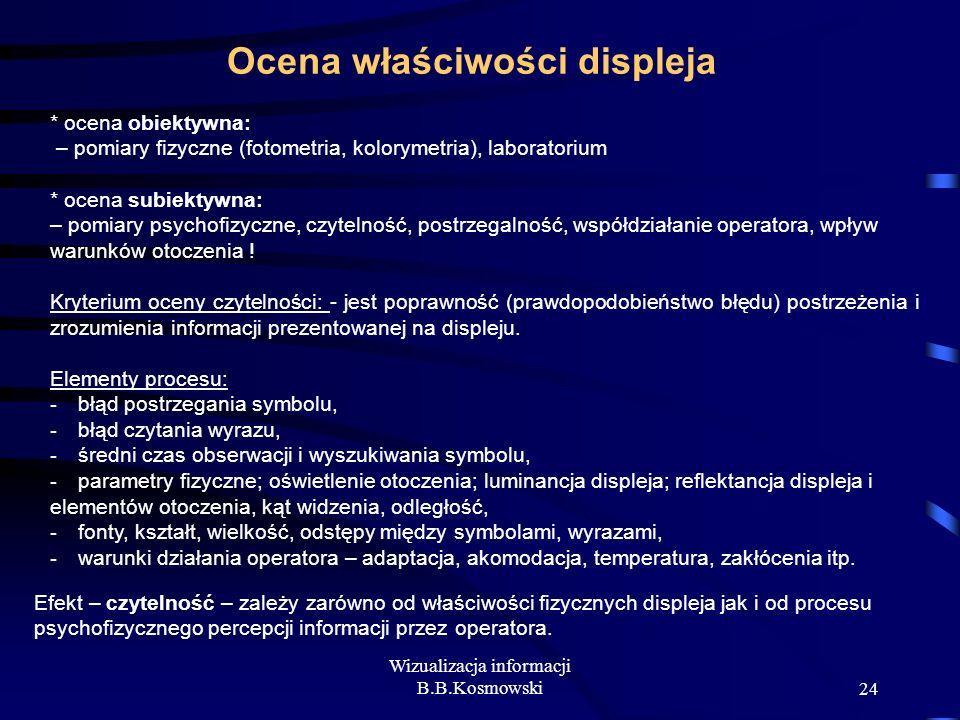 Wizualizacja informacji B.B.Kosmowski24 Ocena właściwości displeja * ocena obiektywna: – pomiary fizyczne (fotometria, kolorymetria), laboratorium * o