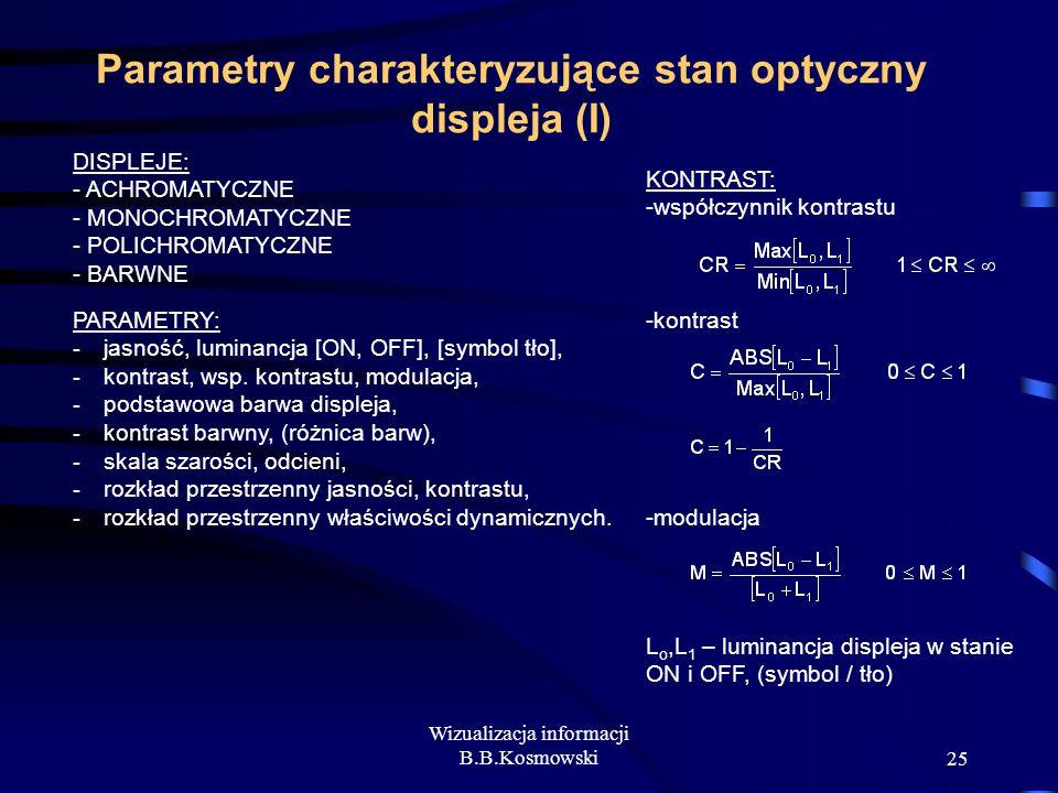 Wizualizacja informacji B.B.Kosmowski25 Parametry charakteryzujące stan optyczny displeja (I) DISPLEJE: - ACHROMATYCZNE - MONOCHROMATYCZNE - POLICHROM