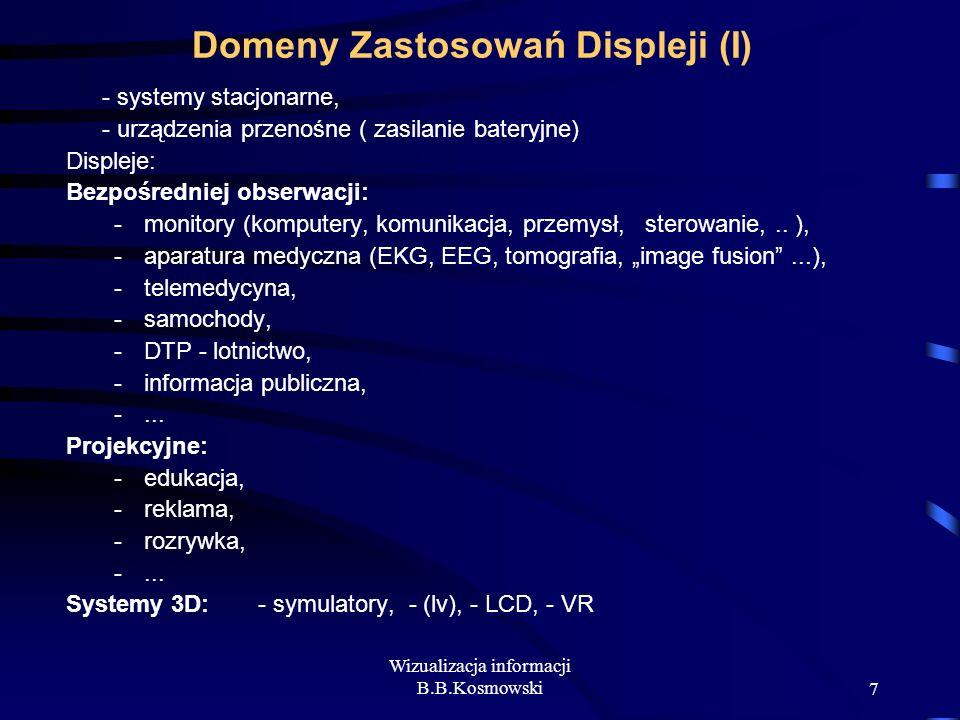 Wizualizacja informacji B.B.Kosmowski7 Domeny Zastosowań Displeji (I) - systemy stacjonarne, - urządzenia przenośne ( zasilanie bateryjne) Displeje: B