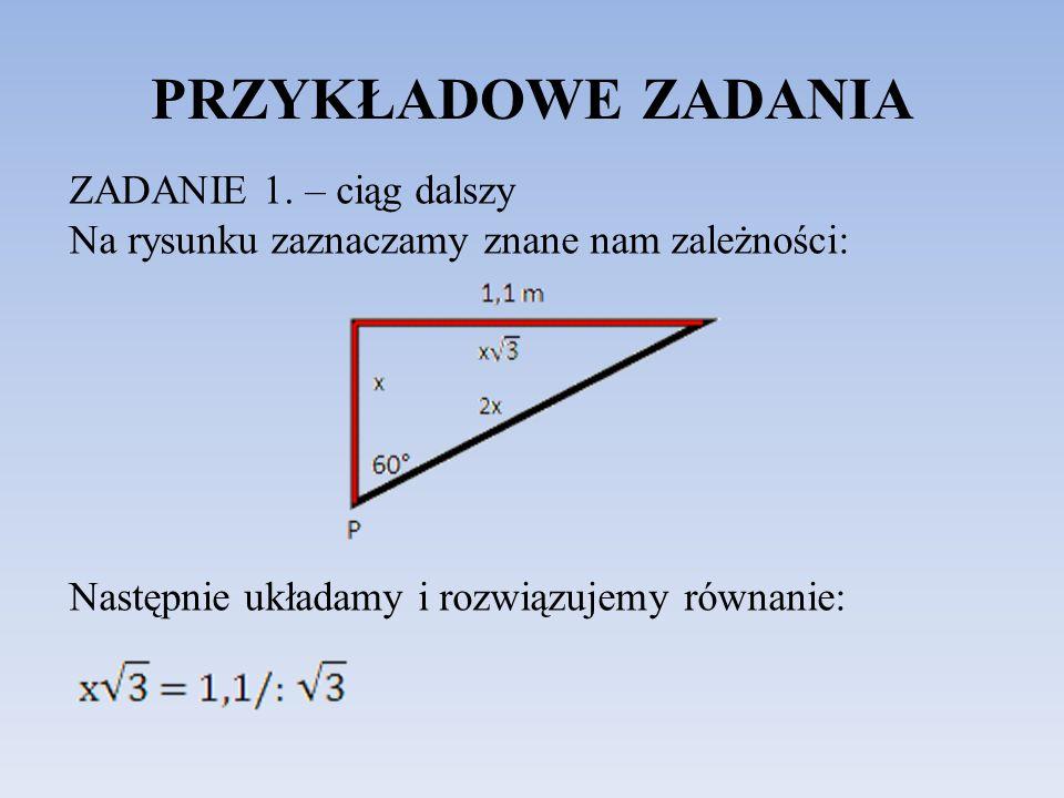 PRZYKŁADOWE ZADANIA ZADANIE 1. – ciąg dalszy Na rysunku zaznaczamy znane nam zależności: Następnie układamy i rozwiązujemy równanie: