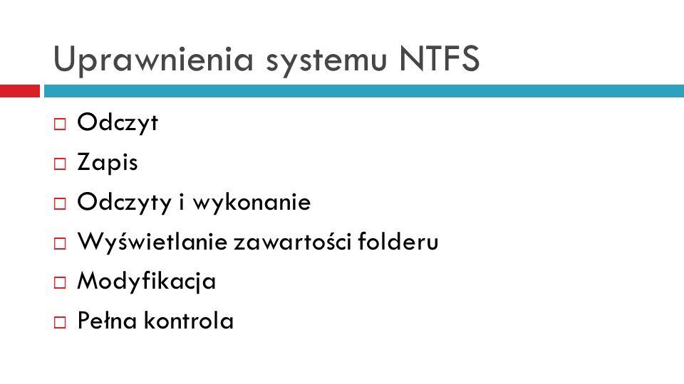 Uprawnienia systemu NTFS Odczyt Zapis Odczyty i wykonanie Wyświetlanie zawartości folderu Modyfikacja Pełna kontrola