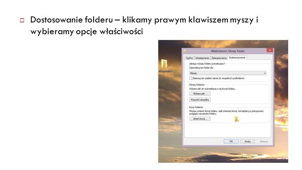 Zmiana widoku – mój komputer - zakładka folder/widok