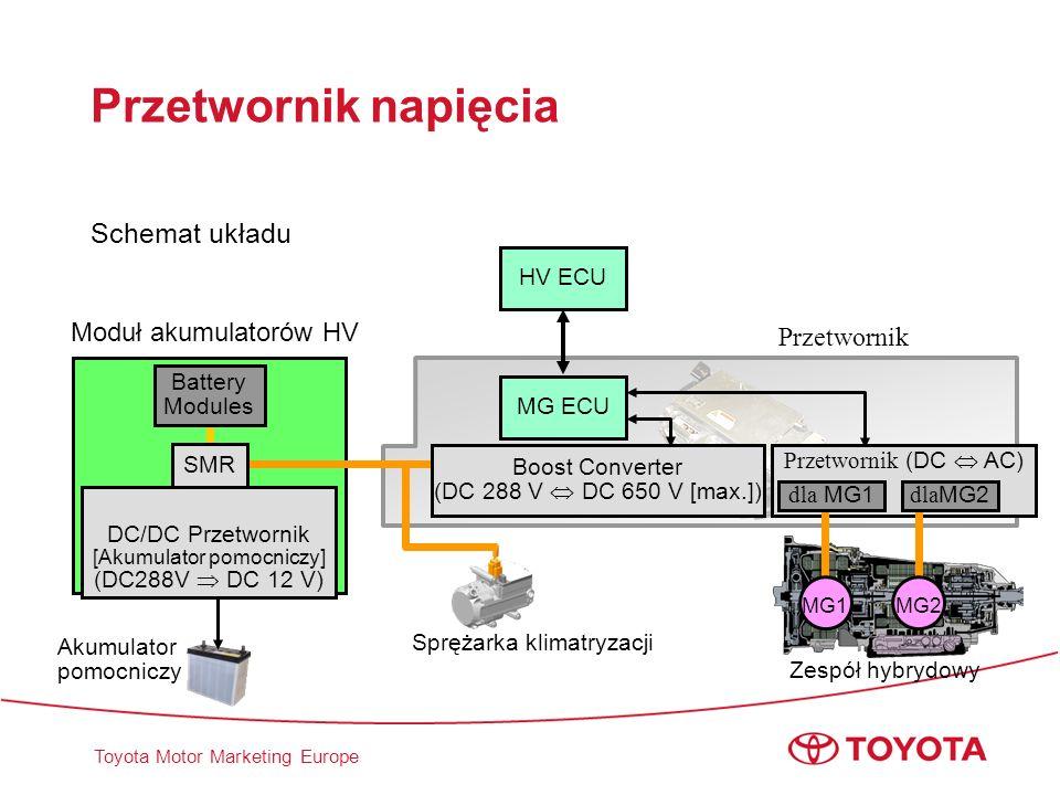 Toyota Motor Marketing Europe Przetwornik napięcia Schemat układu Zespół hybrydowy MG ECU Akumulator pomocniczy Boost Converter (DC 288 V DC 650 V [ma