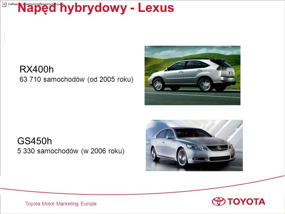 Toyota Motor Marketing Europe Napęd hybrydowy - Lexus RX400h 63 710 samochodów (od 2005 roku) GS450h 5 330 samochodów (w 2006 roku)