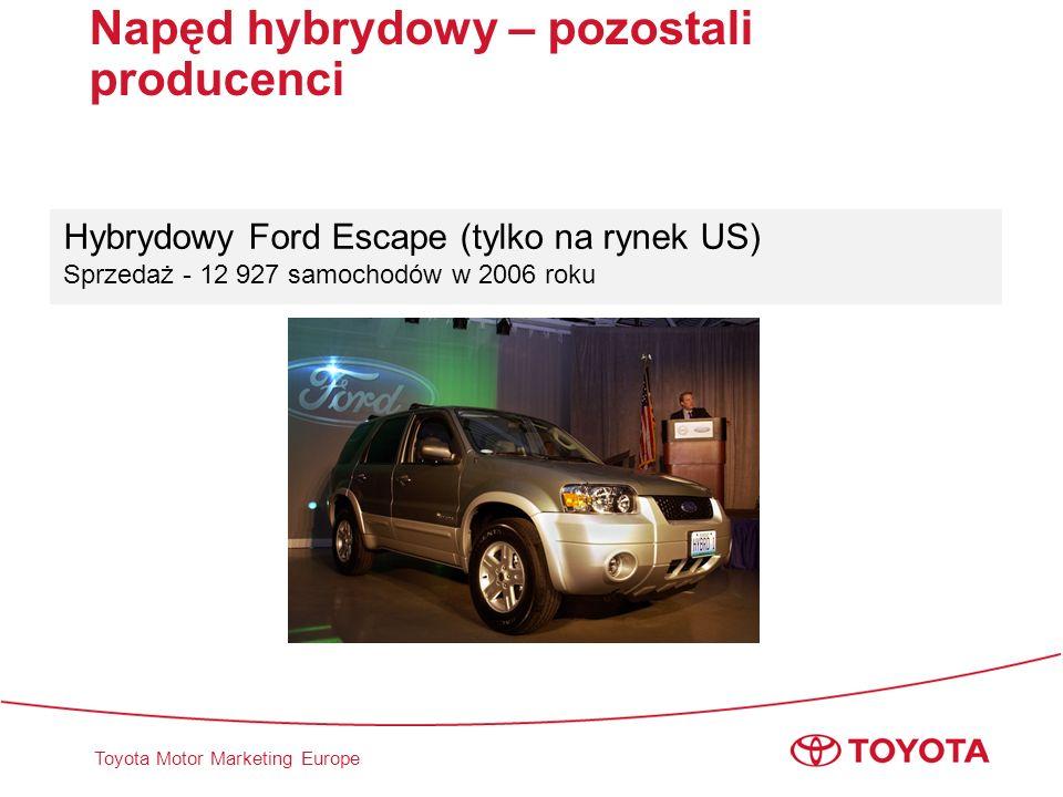 Toyota Motor Marketing Europe Hybrydowy Ford Escape (tylko na rynek US) Sprzedaż - 12 927 samochodów w 2006 roku Napęd hybrydowy – pozostali producenc