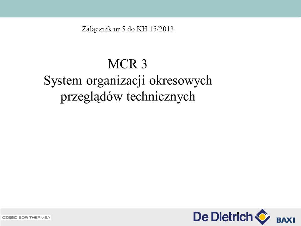Załącznik nr 5 do KH 15/2013 MCR 3 System organizacji okresowych przeglądów technicznych