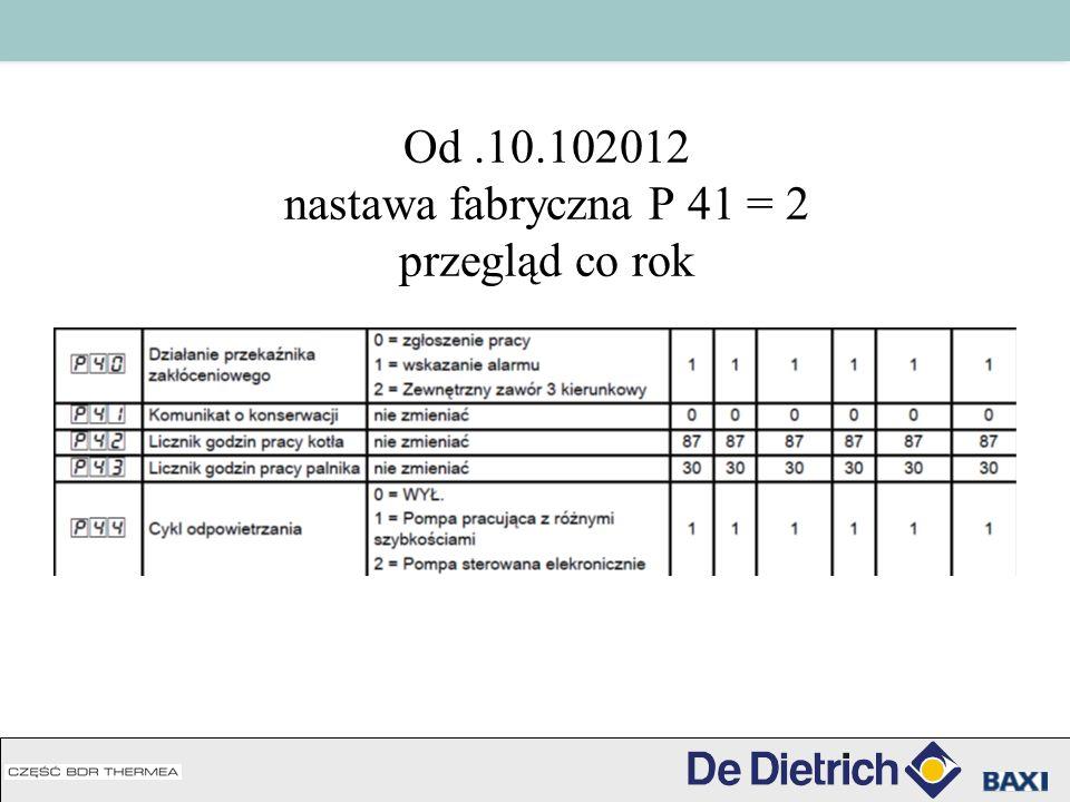 Od.10.102012 nastawa fabryczna P 41 = 2 przegląd co rok