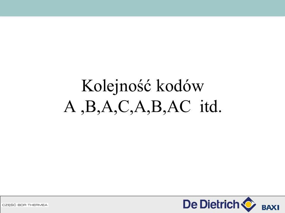 Kolejność kodów A,B,A,C,A,B,AC itd.