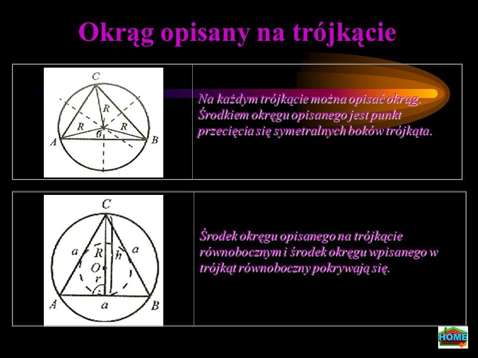 Okrąg opisany na trójkącie Na każdym trójkącie można opisać okrąg. Środkiem okręgu opisanego jest punkt przecięcia się symetralnych boków trójkąta. Śr