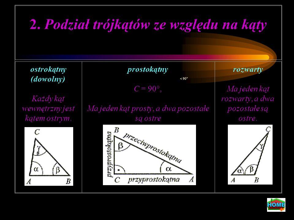 Cechy przystawania trójkątów Dwa trójkąty są przystające, gdy spełniają jeden z równoważnych warunków: (bbb) Długości boków pierwszego trójkąta są równe długościom odpowiednich boków drugiego trójkąta ( odpowiednie boki są przystające).