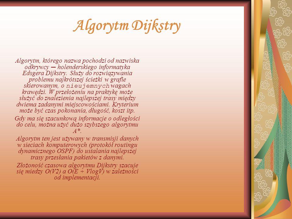 Algorytm Dijkstry Algorytm, którego nazwa pochodzi od nazwiska odkrywcy holenderskiego informatyka Edsgera Dijkstry.