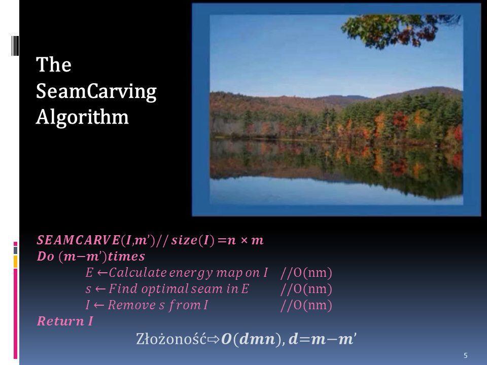 5 (,)// () = () //O(nm) Złożoność(), = The SeamCarving Algorithm