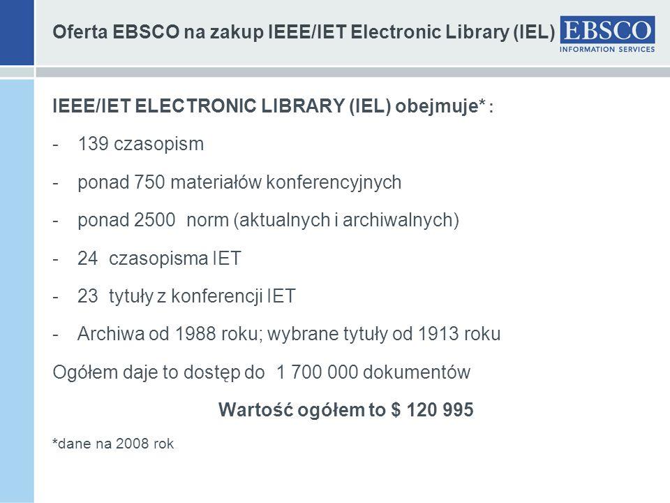 Oferta EBSCO na zakup IEEE/IET Electronic Library (IEL) IEEE/IET ELECTRONIC LIBRARY (IEL) obejmuje* : -139 czasopism -ponad 750 materiałów konferencyj