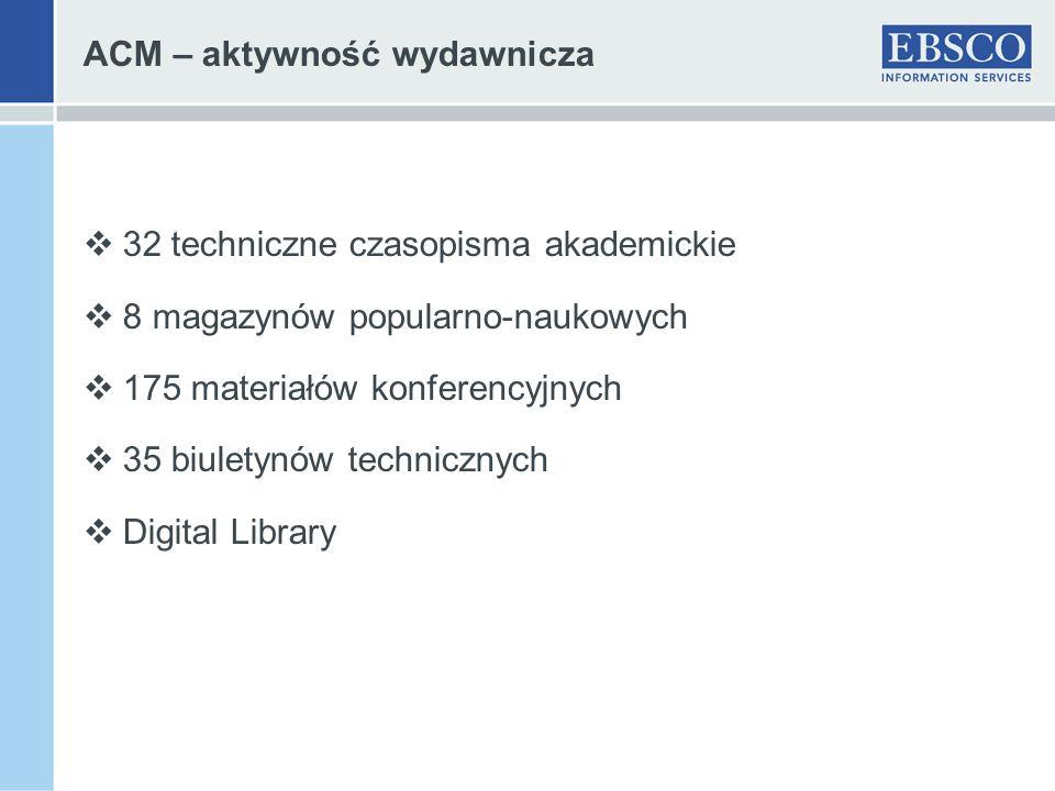 ACM – aktywność wydawnicza 32 techniczne czasopisma akademickie 8 magazynów popularno-naukowych 175 materiałów konferencyjnych 35 biuletynów techniczn