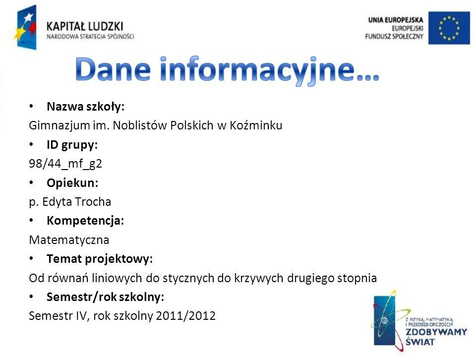 Nazwa szkoły: Gimnazjum im.Noblistów Polskich w Koźminku ID grupy: 98/44_mf_g2 Opiekun: p.