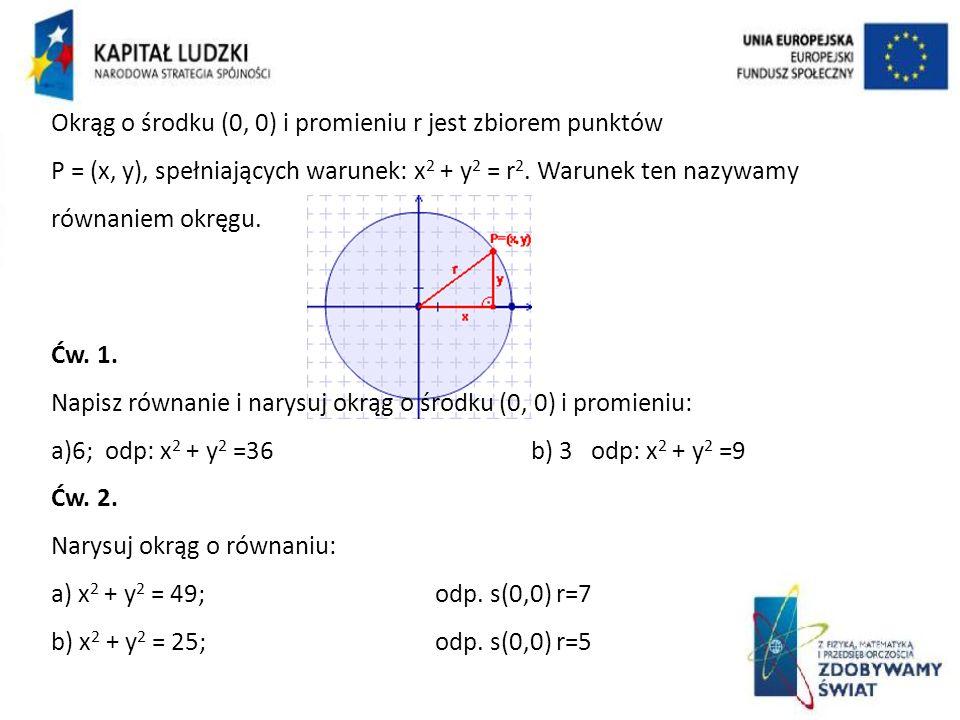 Okrąg o środku (0, 0) i promieniu r jest zbiorem punktów P = (x, y), spełniających warunek: x 2 + y 2 = r 2.