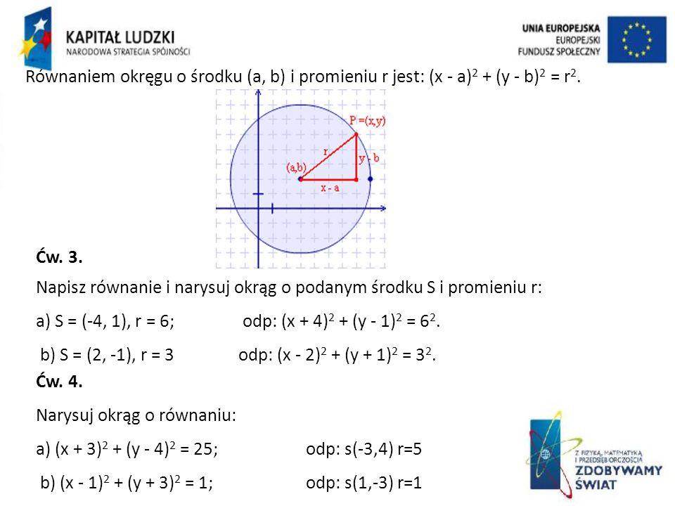 Równaniem okręgu o środku (a, b) i promieniu r jest: (x - a) 2 + (y - b) 2 = r 2. Ćw. 3. Napisz równanie i narysuj okrąg o podanym środku S i promieni
