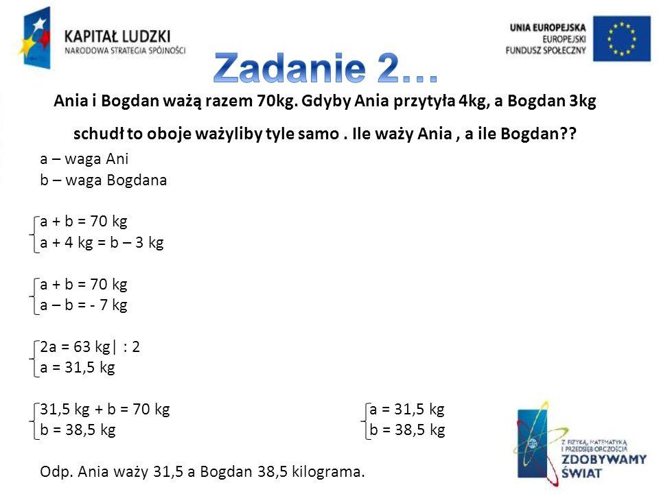 Ania i Bogdan ważą razem 70kg. Gdyby Ania przytyła 4kg, a Bogdan 3kg schudł to oboje ważyliby tyle samo. Ile waży Ania, a ile Bogdan?? a – waga Ani b