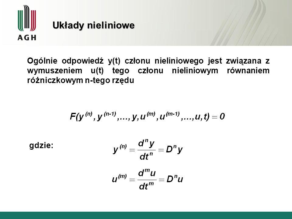 Układy nieliniowe Ogólnie odpowiedź y(t) członu nieliniowego jest związana z wymuszeniem u(t) tego członu nieliniowym równaniem różniczkowym n-tego rz