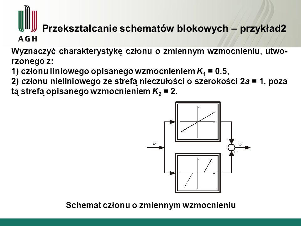Przekształcanie schematów blokowych – przykład2 Wyznaczyć charakterystykę członu o zmiennym wzmocnieniu, utwo- rzonego z: 1) członu liniowego opisaneg