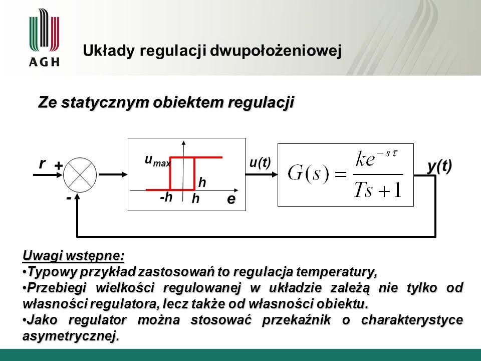 Układy regulacji dwupołożeniowej e u max -h h r y(t) u(t) + - Uwagi wstępne: Typowy przykład zastosowań to regulacja temperatury,Typowy przykład zasto