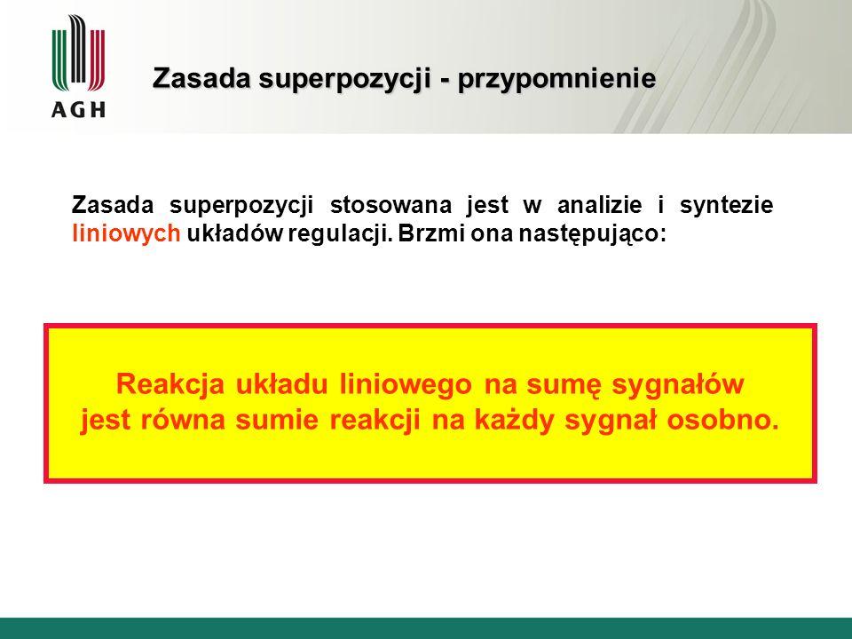 Zasada superpozycji - przypomnienie Zasada superpozycji stosowana jest w analizie i syntezie liniowych układów regulacji. Brzmi ona następująco: Reakc