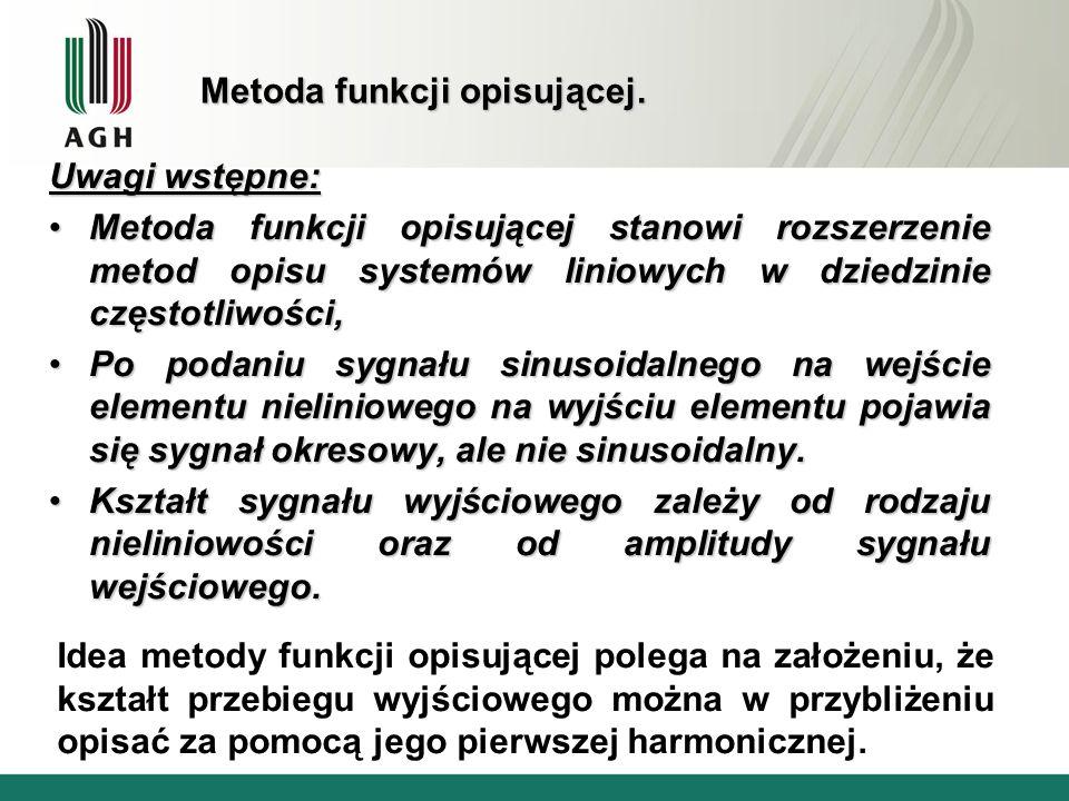 Metoda funkcji opisującej. Uwagi wstępne: Metoda funkcji opisującej stanowi rozszerzenie metod opisu systemów liniowych w dziedzinie częstotliwości,Me