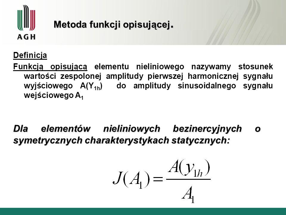 Definicja Funkcją opisującą elementu nieliniowego nazywamy stosunek wartości zespolonej amplitudy pierwszej harmonicznej sygnału wyjściowego A(Y 1h )