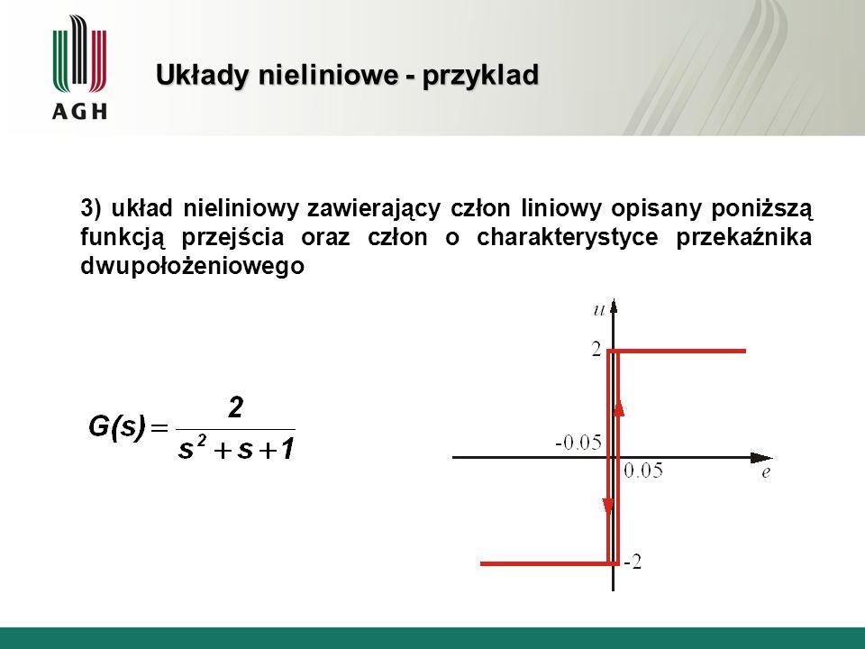 Układy nieliniowe - przyklad 3) układ nieliniowy zawierający człon liniowy opisany poniższą funkcją przejścia oraz człon o charakterystyce przekaźnika