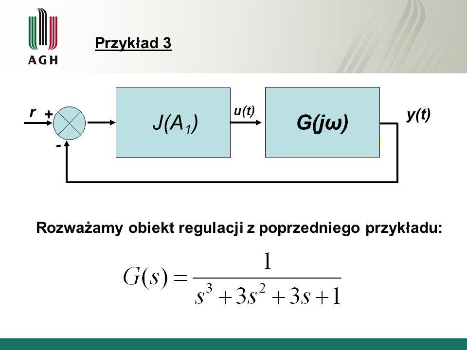 Przykład 3 J(A 1 ) r y(t) u(t) + - G(jω) Rozważamy obiekt regulacji z poprzedniego przykładu: