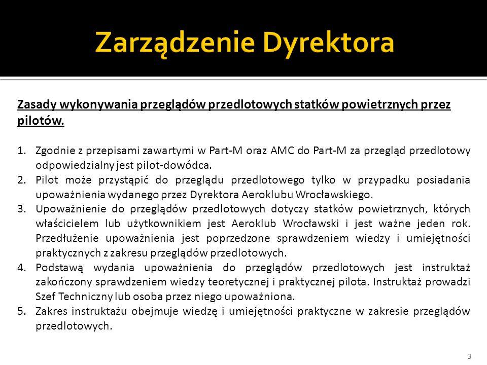 3 Zasady wykonywania przeglądów przedlotowych statków powietrznych przez pilotów. 1.Zgodnie z przepisami zawartymi w Part-M oraz AMC do Part-M za prze
