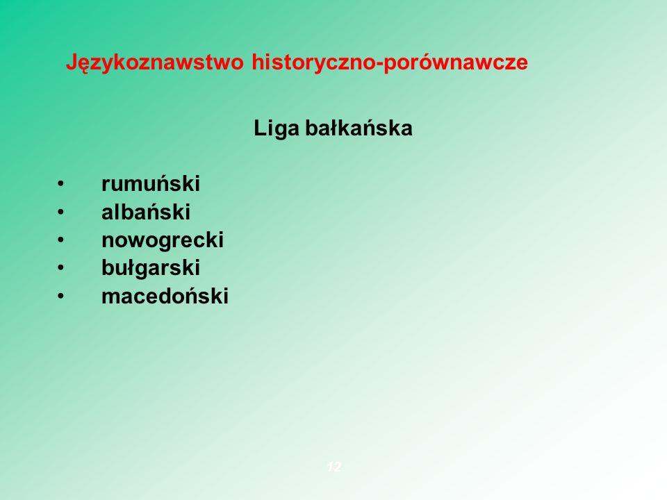 Liga bałkańska rumuński albański nowogrecki bułgarski macedoński 12 Językoznawstwo historyczno-porównawcze