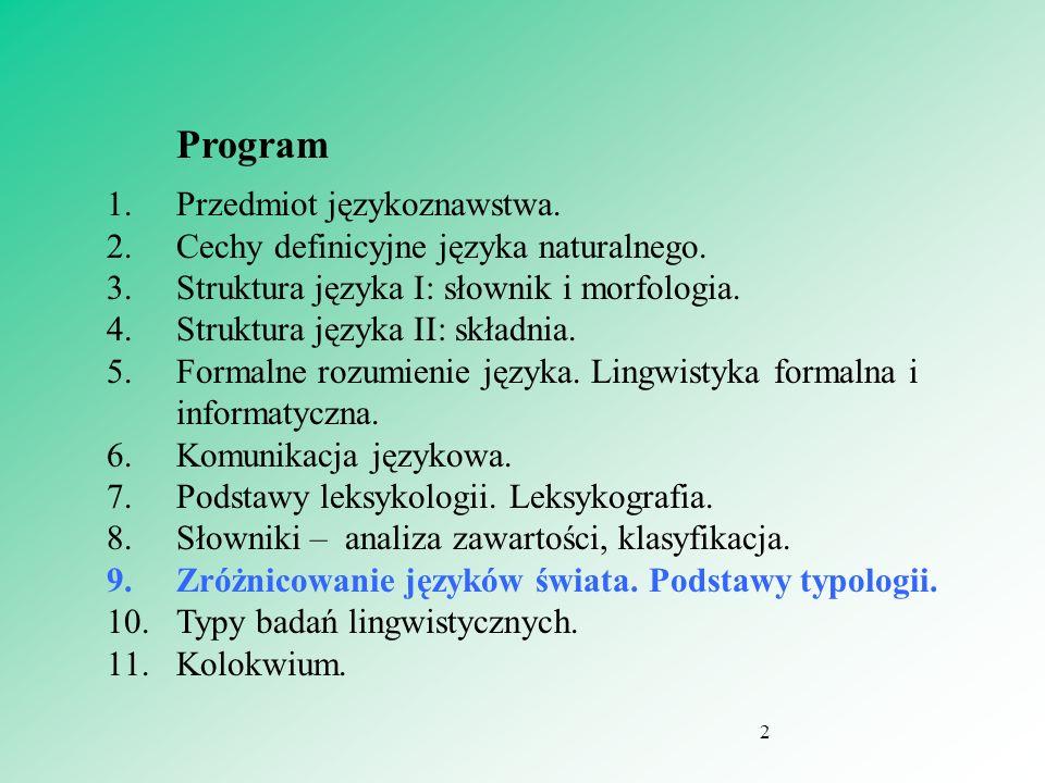 Temat 7 Zróżnicowanie języków świata. Podstawy typologii. 3