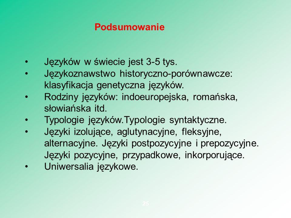 Języków w świecie jest 3-5 tys. Językoznawstwo historyczno-porównawcze: klasyfikacja genetyczna języków. Rodziny języków: indoeuropejska, romańska, sł