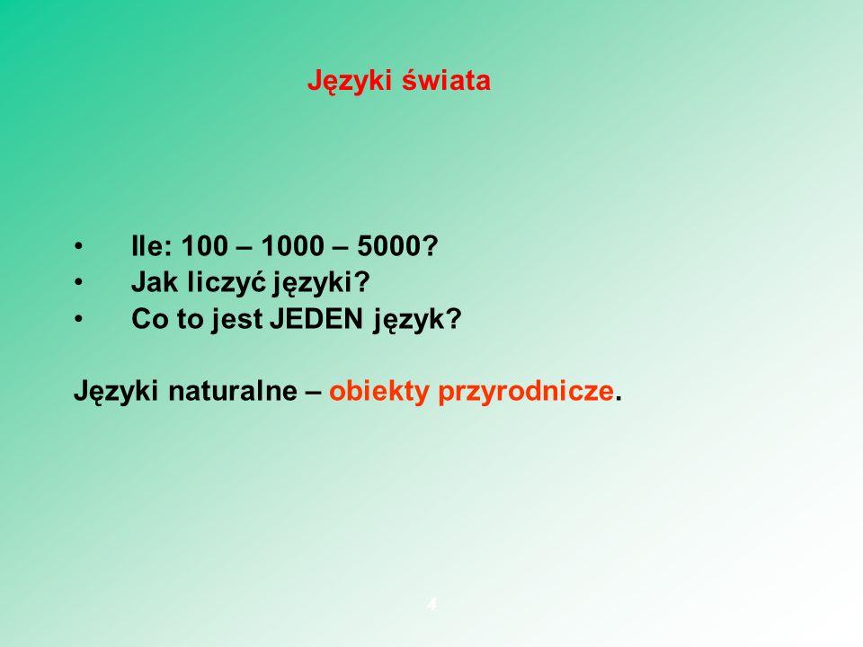 Ile: 100 – 1000 – 5000? Jak liczyć języki? Co to jest JEDEN język? Języki naturalne – obiekty przyrodnicze. 4 Języki świata