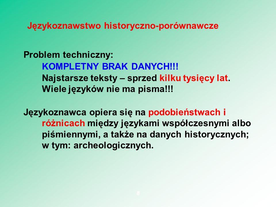 Problem techniczny: KOMPLETNY BRAK DANYCH!!! Najstarsze teksty – sprzed kilku tysięcy lat. Wiele języków nie ma pisma!!! Językoznawca opiera się na po