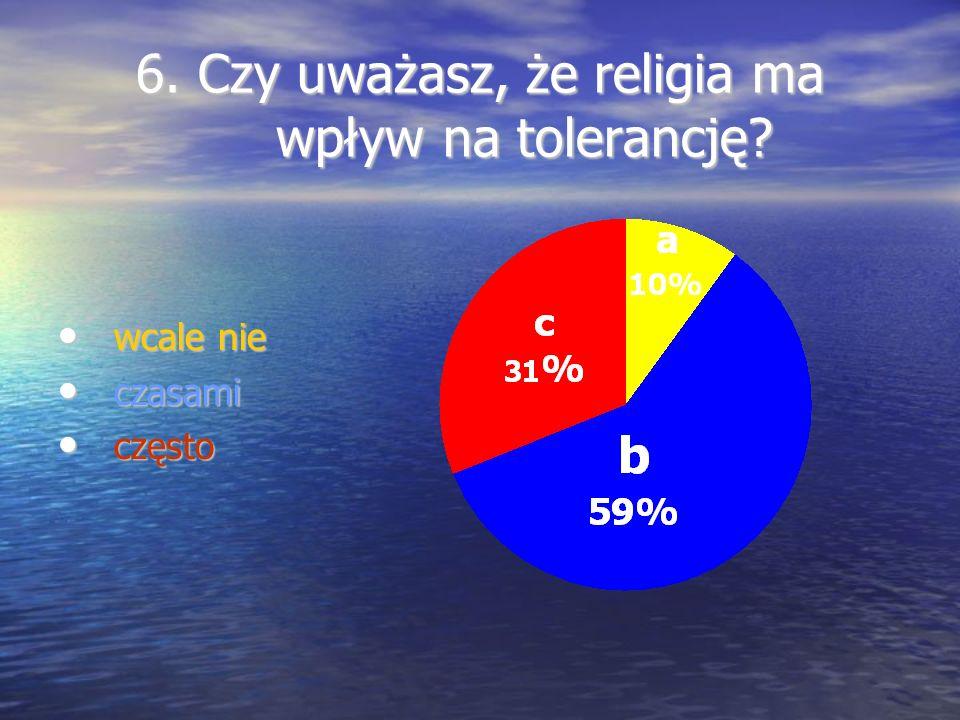 6. Czy uważasz, że religia ma wpływ na tolerancję? wcale nie wcale nie czasami czasami często często