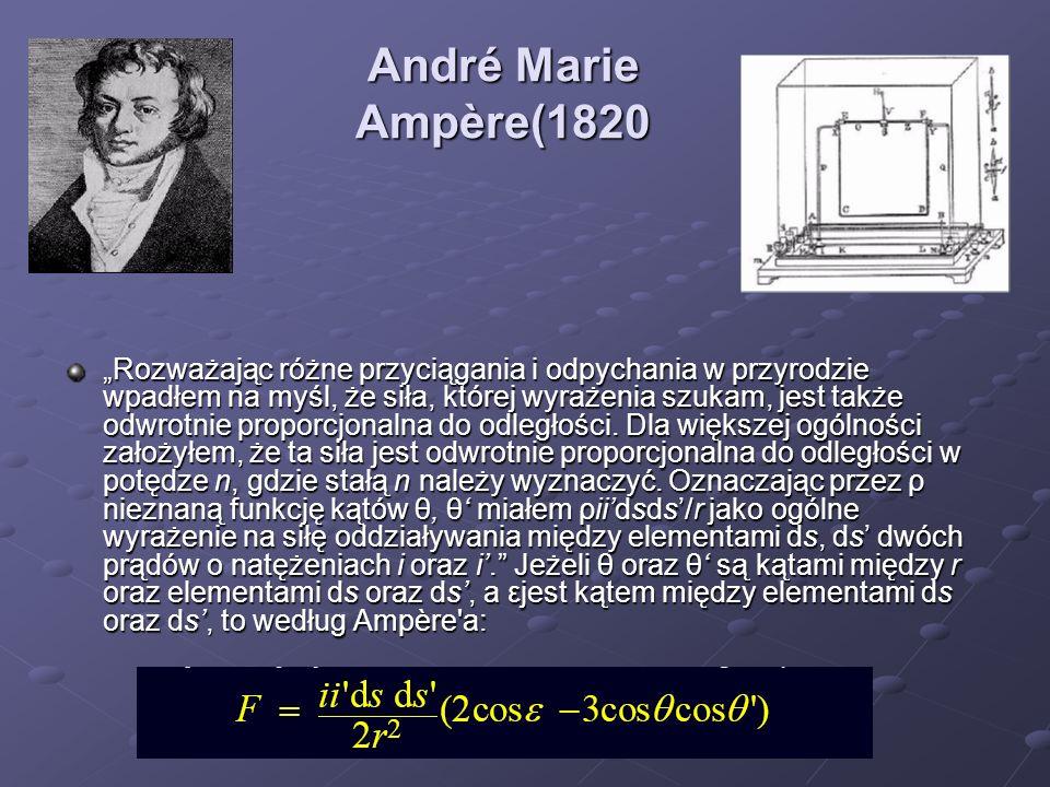 André Marie Ampère(1820 Rozważając różne przyciągania i odpychania w przyrodzie wpadłem na myśl, że siła, której wyrażenia szukam, jest także odwrotni