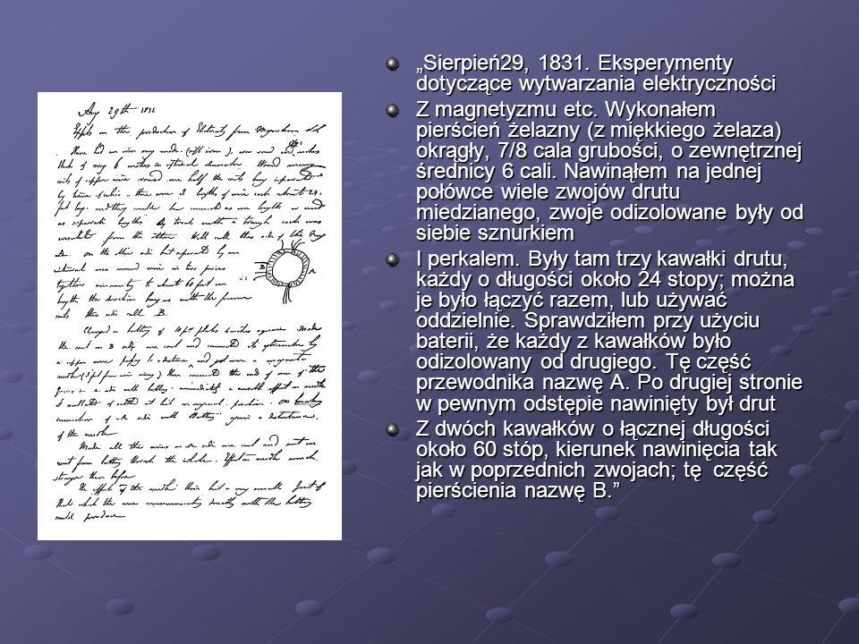 Sierpień29, 1831. Eksperymenty dotyczące wytwarzania elektryczności Z magnetyzmu etc. Wykonałem pierścień żelazny (z miękkiego żelaza) okrągły, 7/8 ca