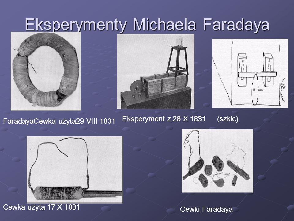 Eksperymenty Michaela Faradaya FaradayaCewka użyta29 VIII 1831 Eksperyment z 28 X 1831(szkic) Cewka użyta 17 X 1831 Cewki Faradaya
