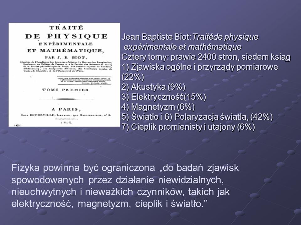 Jean Baptiste Biot:Traitéde physique expérimentale et mathématique Cztery tomy: prawie 2400 stron, siedem ksiąg 1) Zjawiska ogólne i przyrządy pomiaro