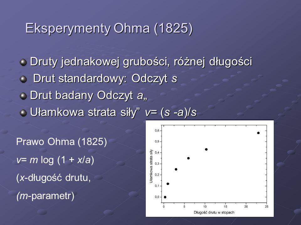 Eksperymenty Ohma (1825) Druty jednakowej grubości, różnej długości Drut standardowy: Odczyt s Drut standardowy: Odczyt s Drut badany Odczyt a Ułamkow