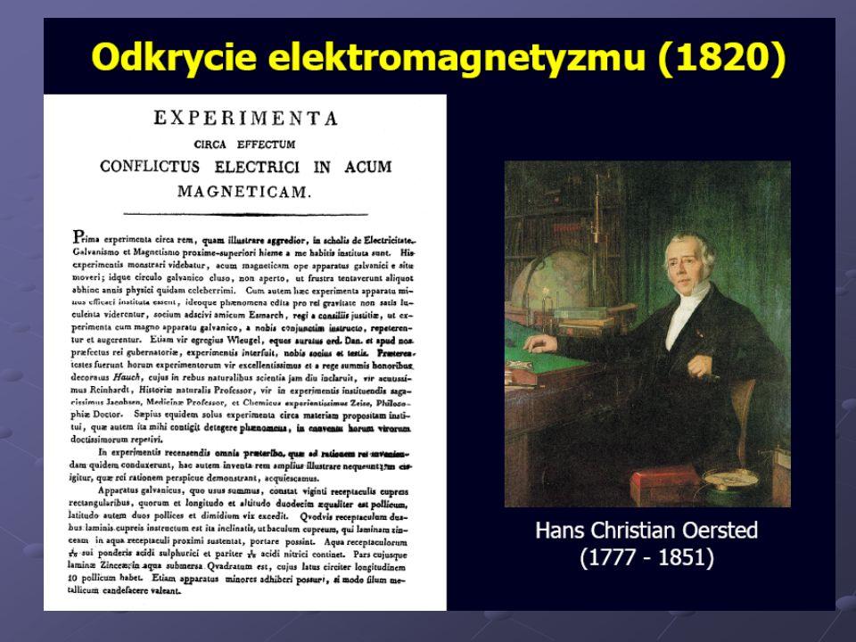 Opis odkrycia elektromagnetyzmu opracowany przez Oersteda dla Edinburgh Edinburgh 1830): Elektromagnetyzm zostało dkryty w 1820 r.