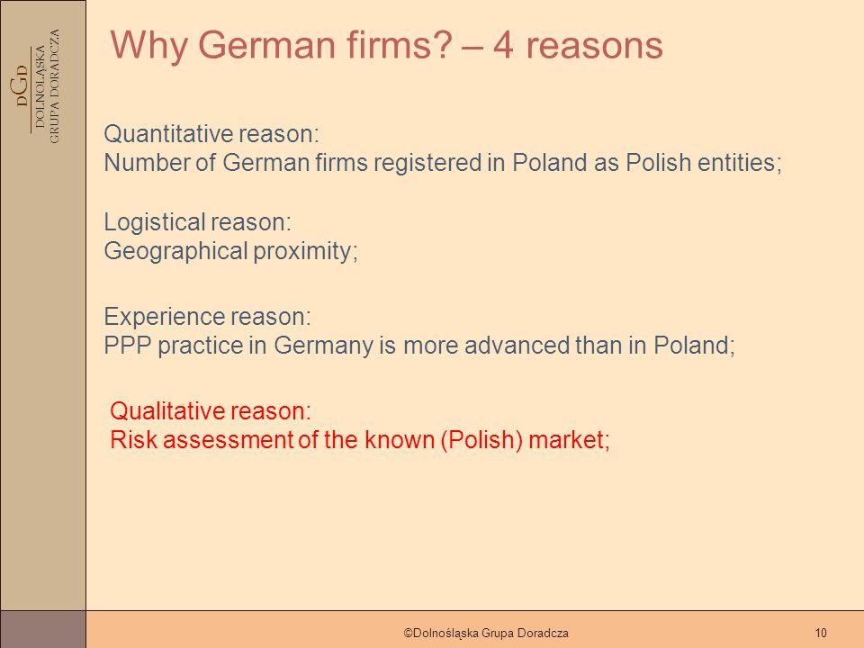 D G D DOLNOLĄSKA GRUPA DORADCZA ©Dolnośląska Grupa Doradcza10 Why German firms.