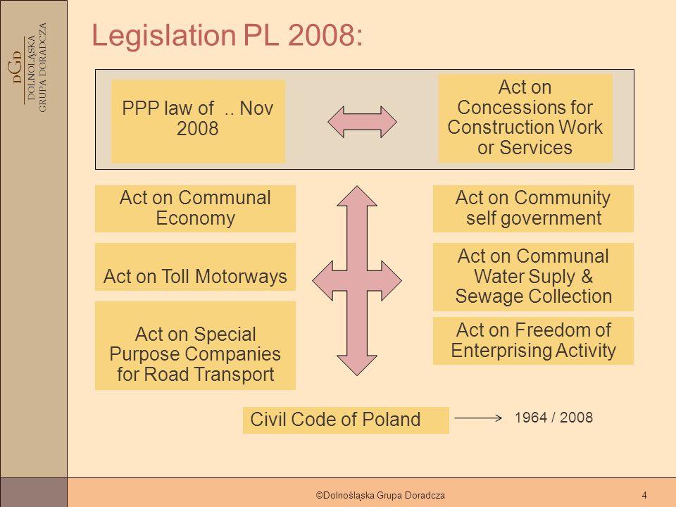 D G D DOLNOLĄSKA GRUPA DORADCZA ©Dolnośląska Grupa Doradcza4 Legislation PL 2008: Civil Code of Poland PPP law of..