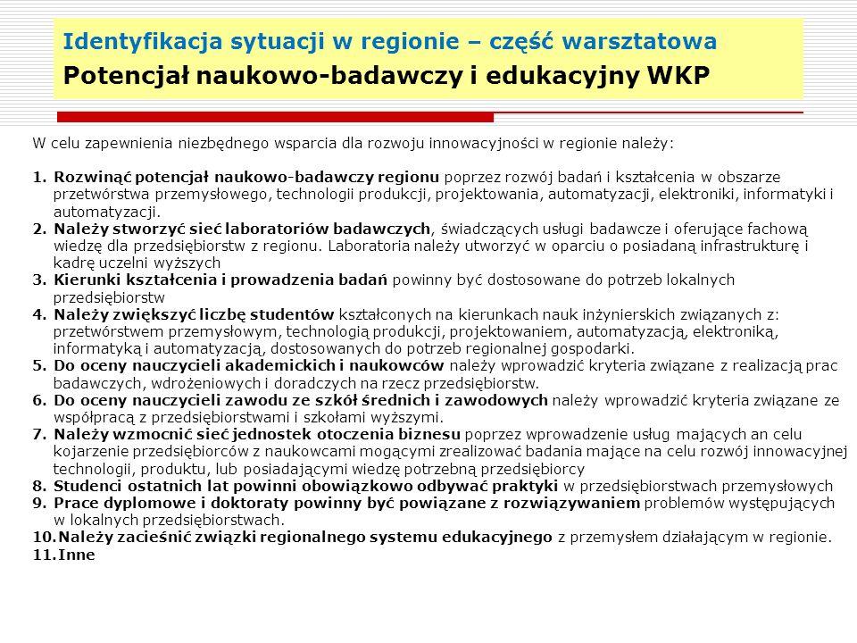 Identyfikacja sytuacji w regionie – część warsztatowa Potrzeby sektora nauki i techniki w WKP 18 W celu rozwoju potencjału sektora nauki i techniki w województwie kujawsko- pomorskim na rzecz wsparcia rozwoju innowacyjnej gospodarki regionu należy: 1.Wzmocnić potencjał kierunków kształcenia mających bezpośredni wpływ na gospodarkę 2.Wzmocnić potencjał kadrowy w zakresie nauk inżynierskich 3.Wzmocnić potencjał w zakresie infrastruktury laboratoryjnej nastawionej na świadczenie badań dla przedsiębiorstw