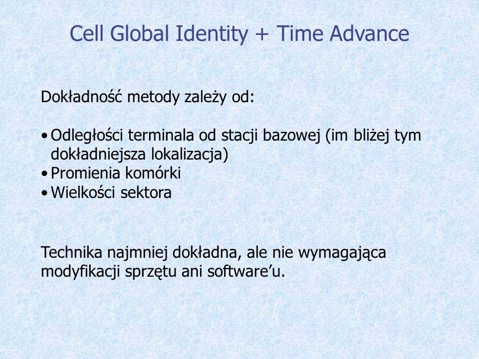 Cell Global Identity + Time Advance Dokładność metody zależy od: Odległości terminala od stacji bazowej (im bliżej tym dokładniejsza lokalizacja) Prom