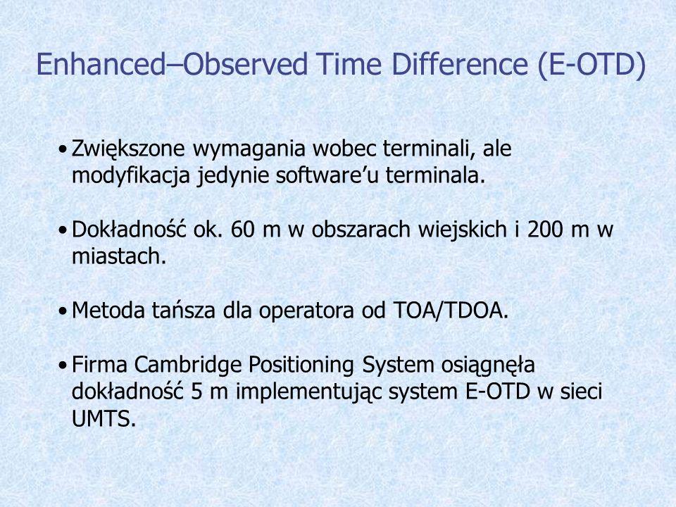 Enhanced–Observed Time Difference (E-OTD) Zwiększone wymagania wobec terminali, ale modyfikacja jedynie softwareu terminala. Dokładność ok. 60 m w obs