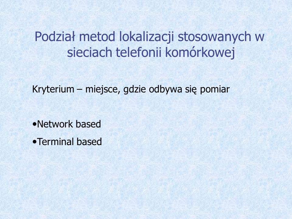 Podział metod lokalizacji stosowanych w sieciach telefonii komórkowej Kryterium – miejsce, gdzie odbywa się pomiar Network based Terminal based
